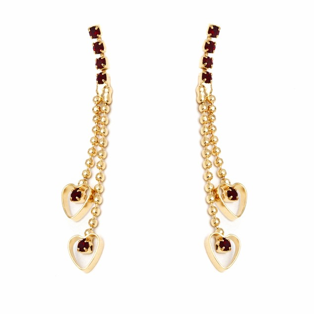 Gold and Ruby Double Heart Drop Earrings