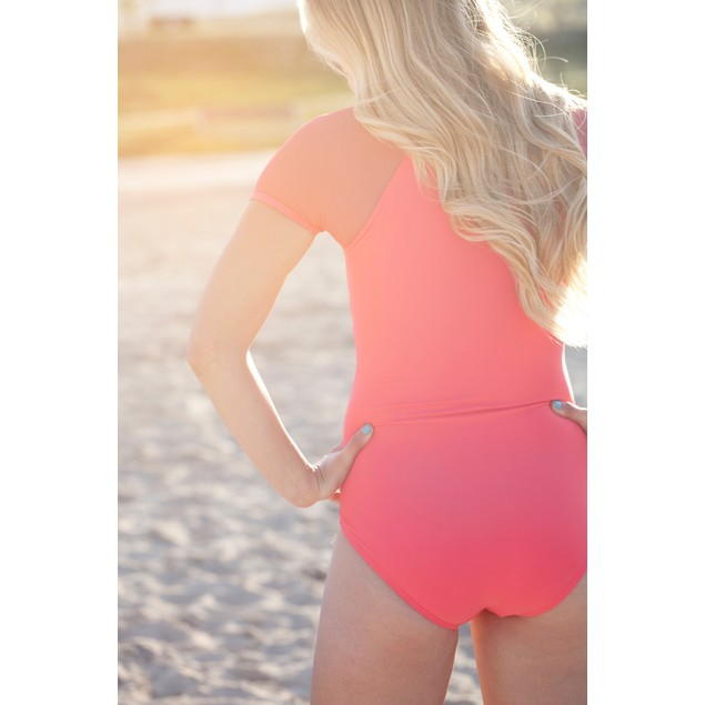 Mesh Sleeve One Piece Zip-Up Bathing Suit - 2 Colors