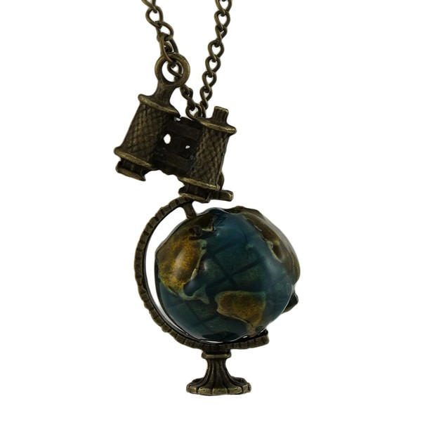 Brass / Enamel Rotating Globe And Binoculars Mens Pendant Necklaces