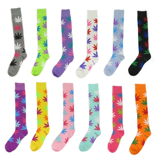 Women's Fun Colorful Cotton Long Sporty Knee High Weed Leaf Socks 3 pack