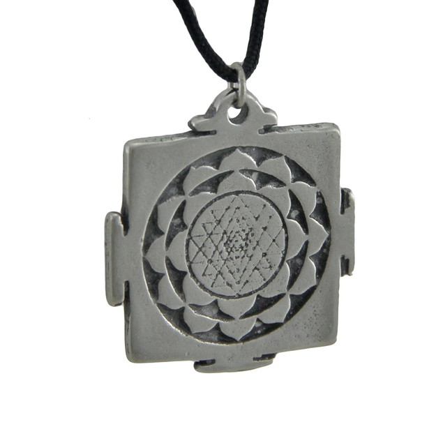 Solid Pewter Sri Yantra Symbol Pendant W/ Cord Mens Pendant Necklaces