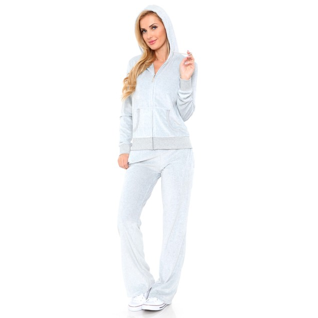 White Mark Velour Hooded Tracksuit Set - Up to Size 3X