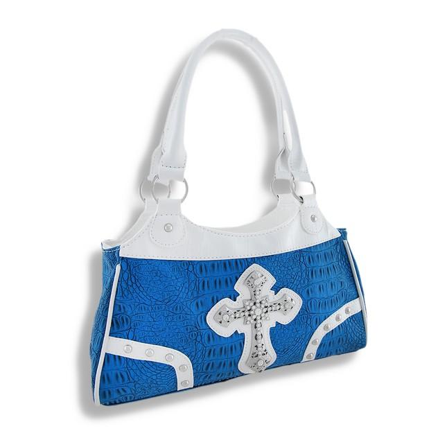 Blue Mock Croc Purse With Rhinestone Cross And Womens Shoulder Handbags