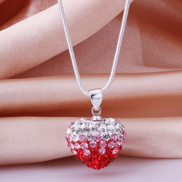 Two Toned Crystal Austrian Stone Heart Shaped Necklace - Red