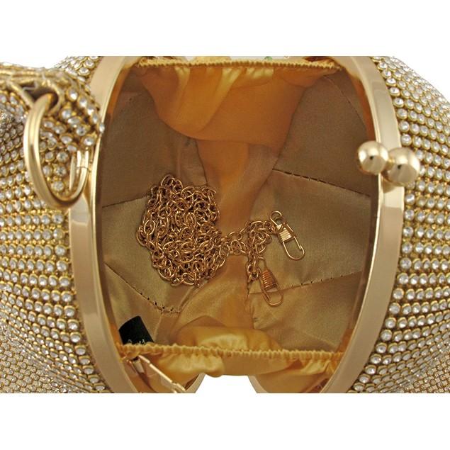 Gold Rhinestone Mesh Covered Round Wristlet Womens Wristlet Handbags