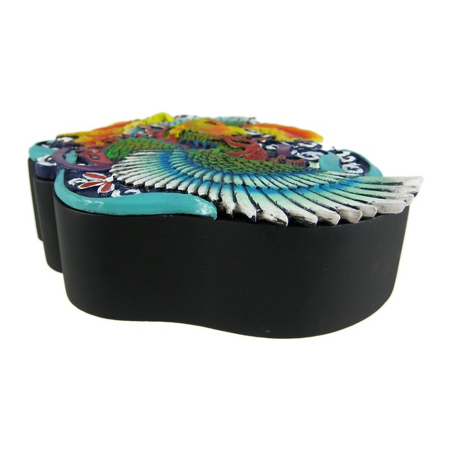 Fiery Phoenix Tattoo Style Trinket Box Jewelry Decorative Boxes
