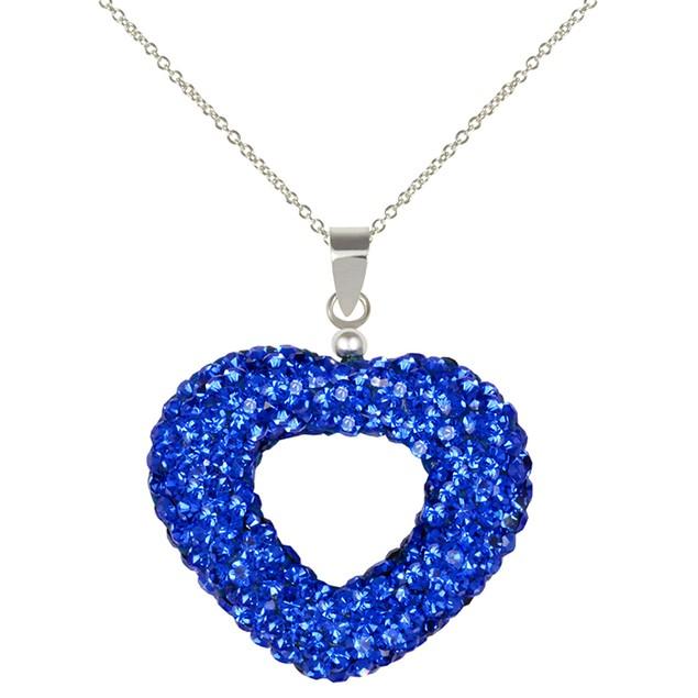 Sterling Silver Blue Crystal Open Heart Pendant