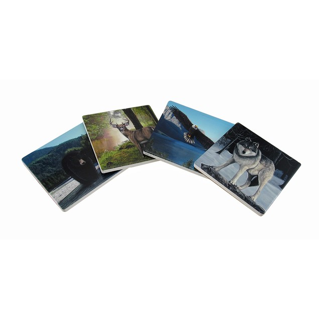 Set Of 4 Forest Wildlife Ceramic Tile Coasters Coasters