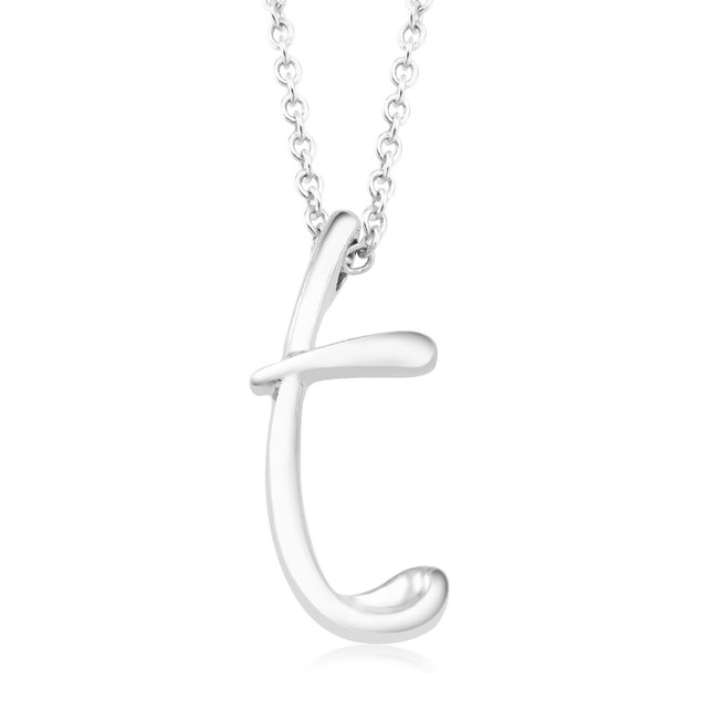 Silver Script Intial Necklace - Choose Initial