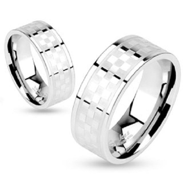 Checker Pattern Center Band Ring Stainless Steel