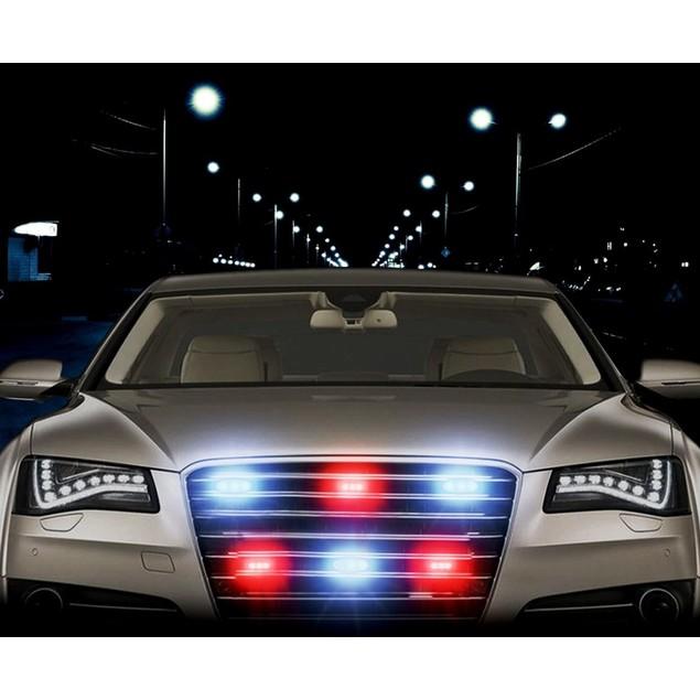 Zone Tech 36 LED Emergency Warning Strobe Light White/Red Windshield Grille