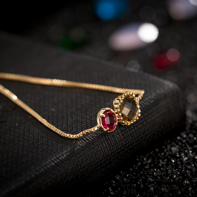 Gold Plated Duo Ruby & Citrine Gem Bracelet