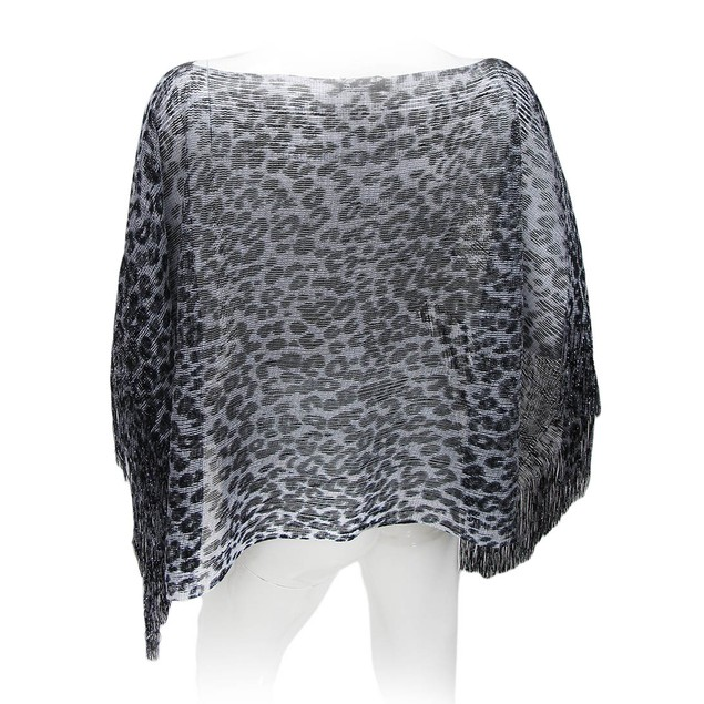 Black And Silver Metallic Leopard Print Womens Ponchos