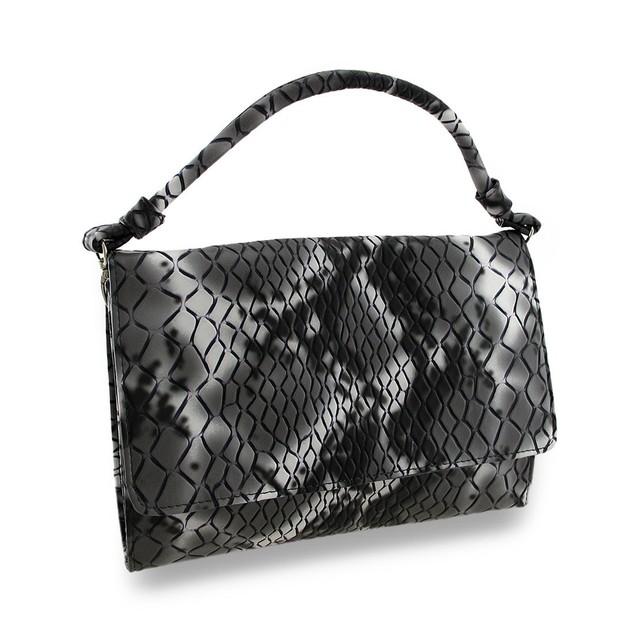 Black & Gray Faux Snakeskin Womens Clutch