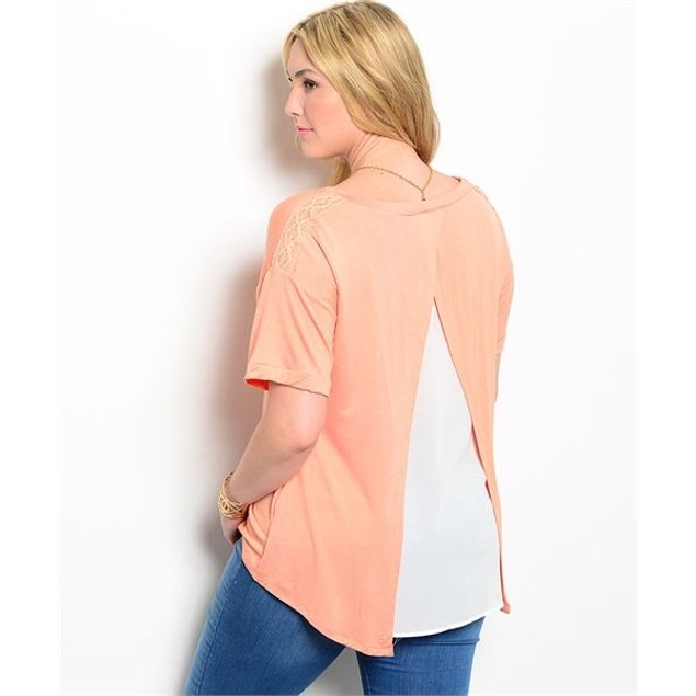 Plus Size Open Back Top with Matching Necklace - 3 Colors