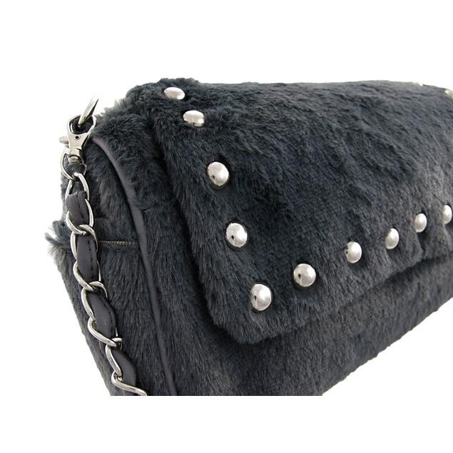 Gray Faux Fur Chrome Studded Handbag Purse Womens Shoulder Handbags