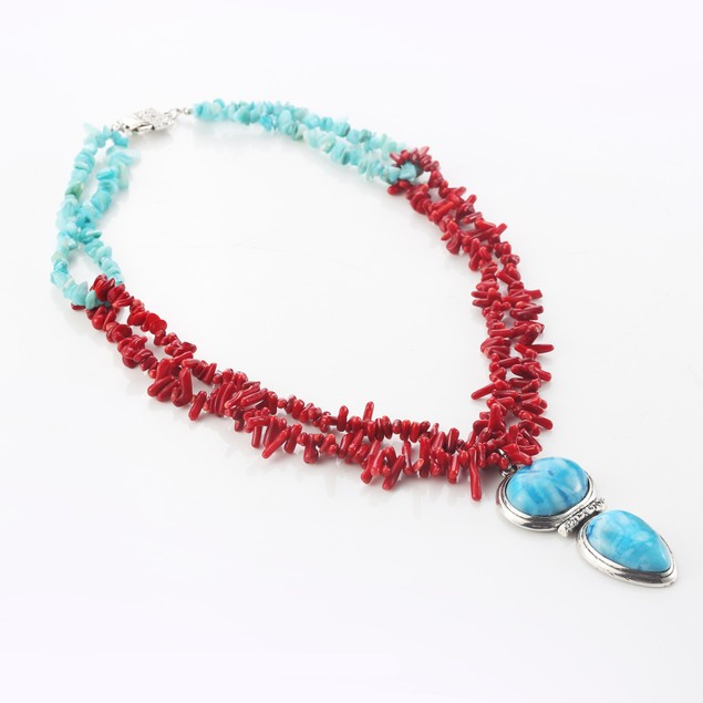 Tibet Coral Agate Pendant Necklace