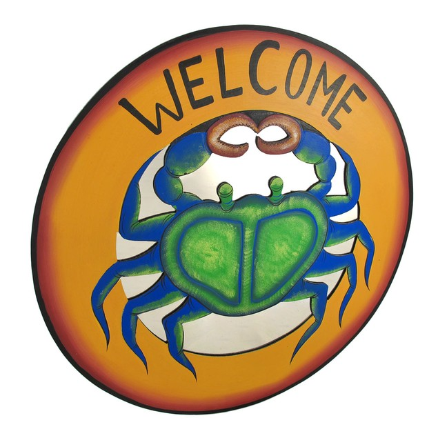 Large Round Blue Crab Mirrored `Welcome` Plaque Decorative Plaques