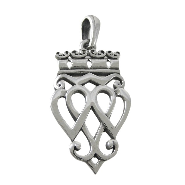 Sterling Silver Luckenbooth Pendant Scottish Love Womens Pendants