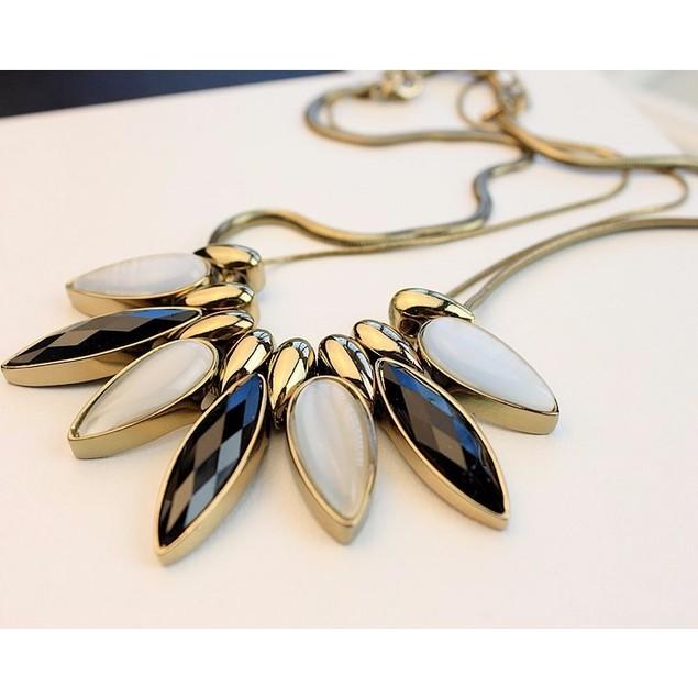 Iridescent Metallic Velveteen Goddess Statement Necklace
