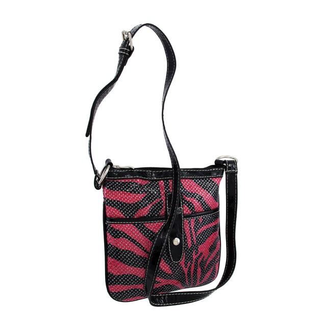 Hot Pink And Black Zebra Crossbody Bag Black Trim Womens Cross Body Bags