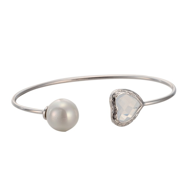 White Gold Plated Hearts Gem & Ball Open Ended Bangle