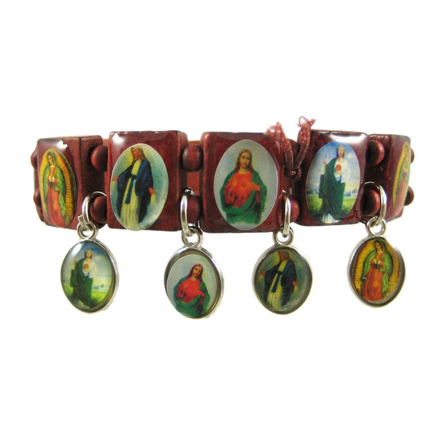 Red Wooden Bead Dangling Christian Charm Bracelet Womens Clasps Bracelets