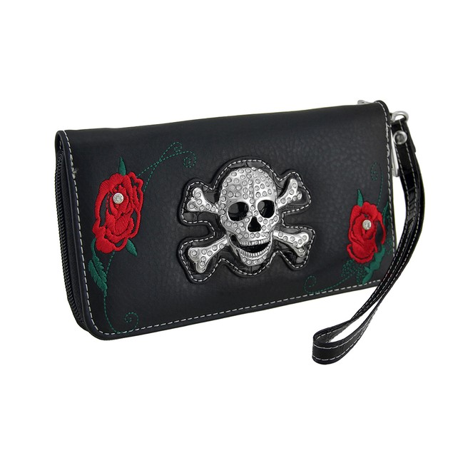 Rhinestone Skull And Red Roses Black Zippered Womens Wallets