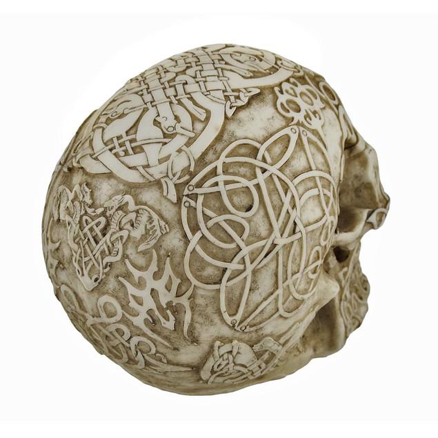 Celtic Owl Knotwork Human Skull Statue Pagan Statues