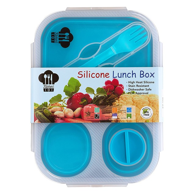 Collapsible Lunch Box with 3 Compartments and Condiment Lid