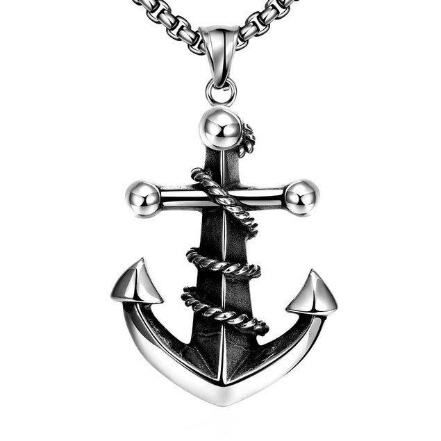 Alpha Steel Anchor Stainless Steel Covered Necklace