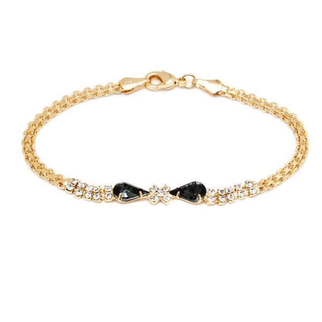 18K Gold & Grey Crystal Bow Bracelet