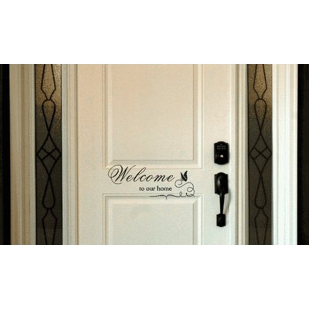 Welcome to Our Home Butterfly Door Decal