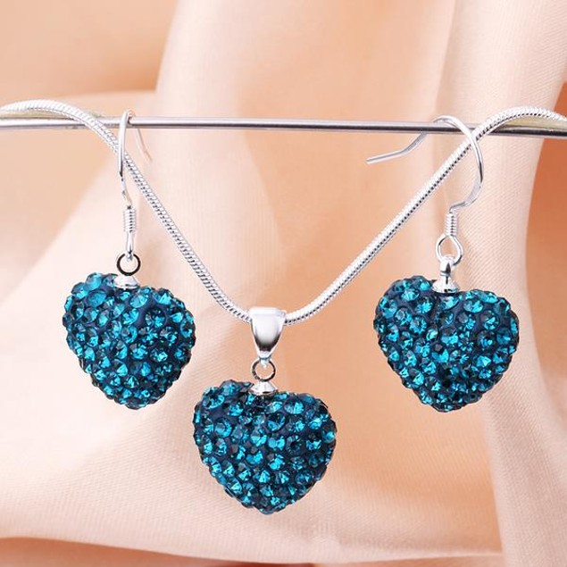 Austrian Stone Solid-Pave Heart Earring and Necklace Set - Teal Crystal