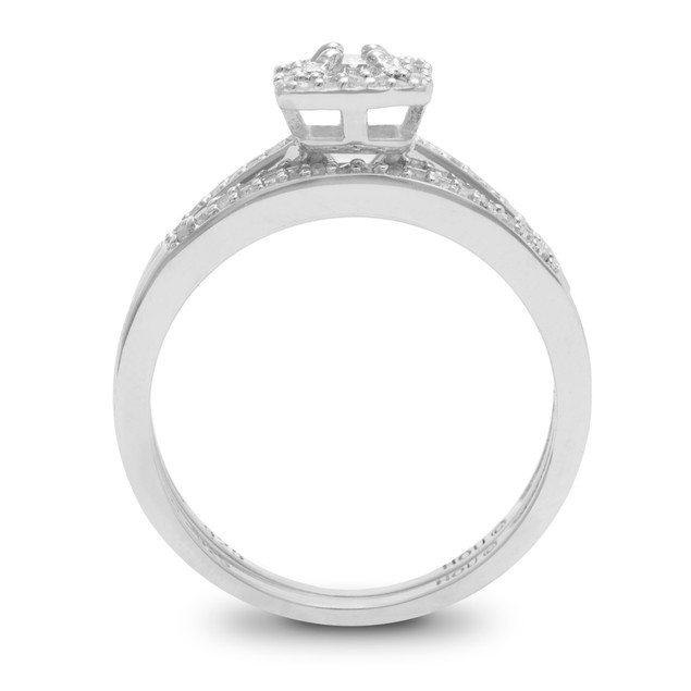 1/4ct Pave Diamond Bridal Set; Sterling Silver