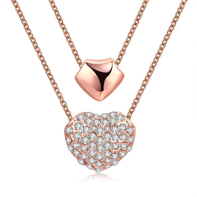 Rose Gold Plated Double Heart Necklace