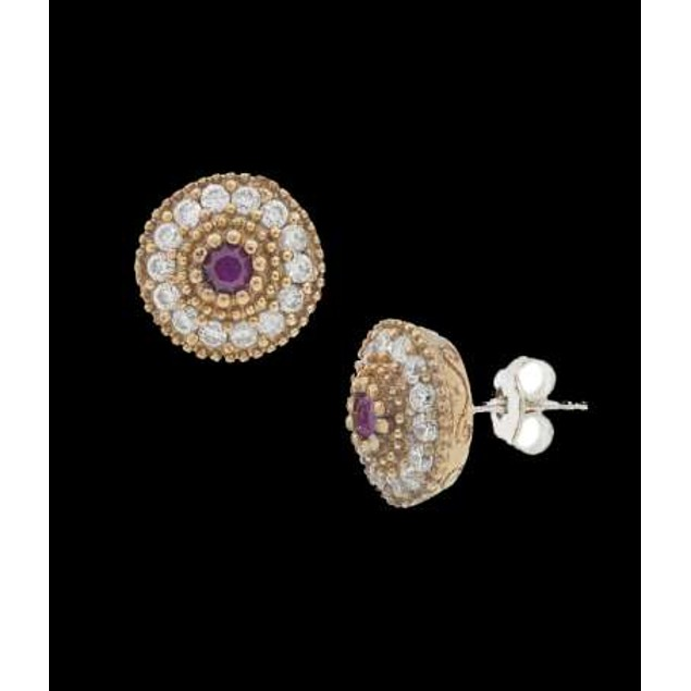 Ottanic Earings With Cz Stones Crafted From .925 Sterling Silver-Ruby