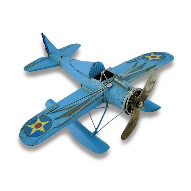 Blue Metal Seaplane Decorative Sculpture Statues