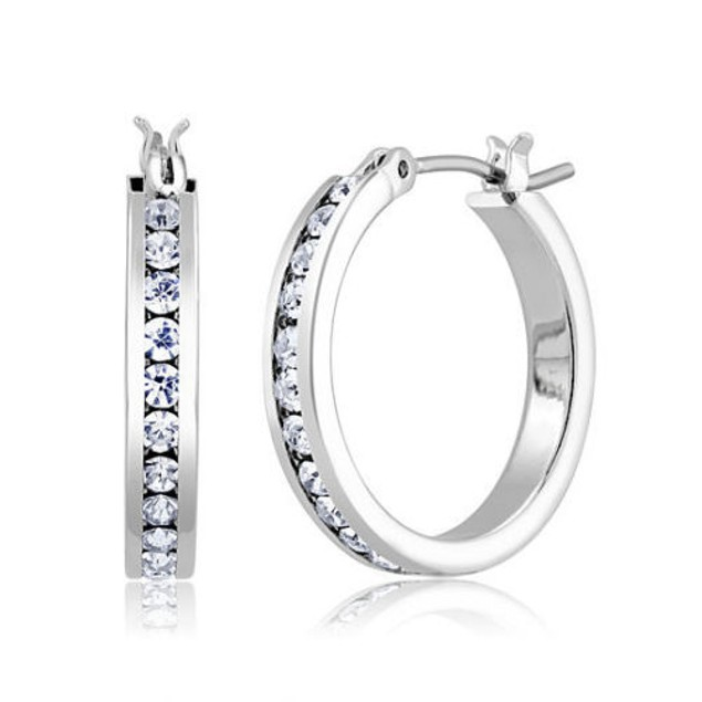 18K White Gold Plated CZ Jewelry Set - Hoops, Studs, Tennis Bracelet & Ring