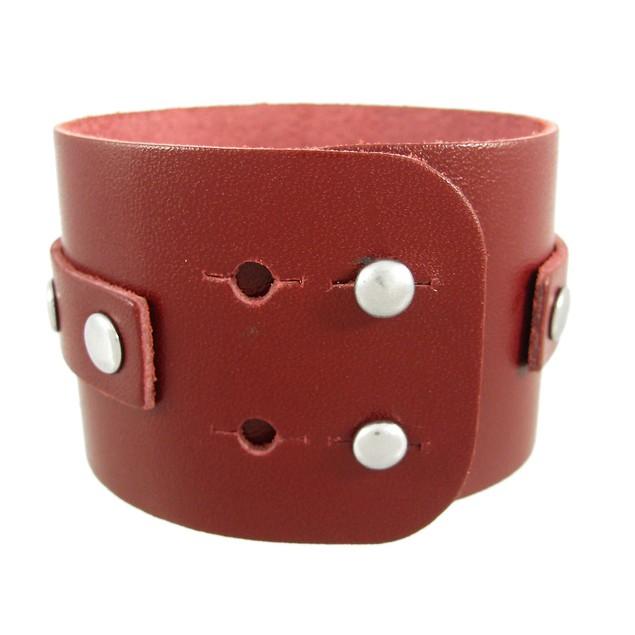 Brown Leather Chrome O Ring Wristband Bracelet Mens Leather Bracelets