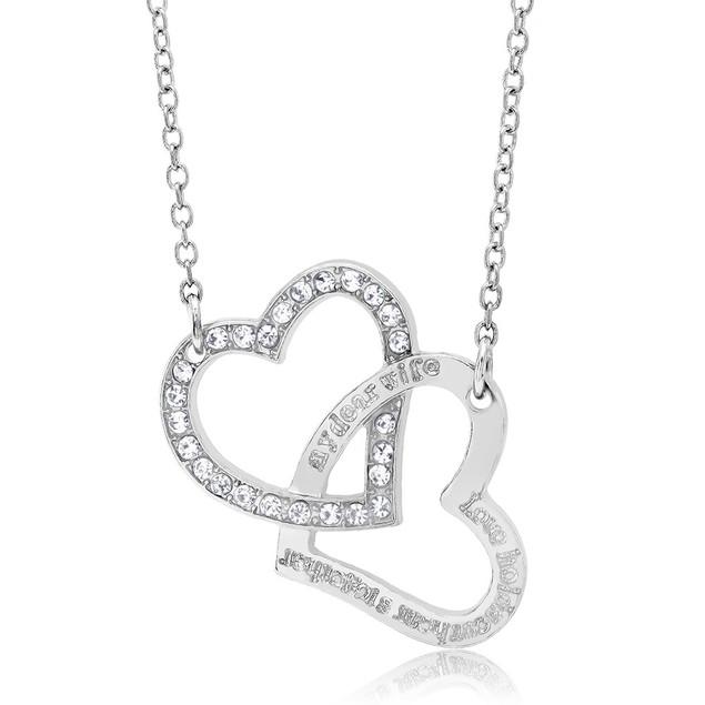 Cubic Zirconia Double Heart Necklace
