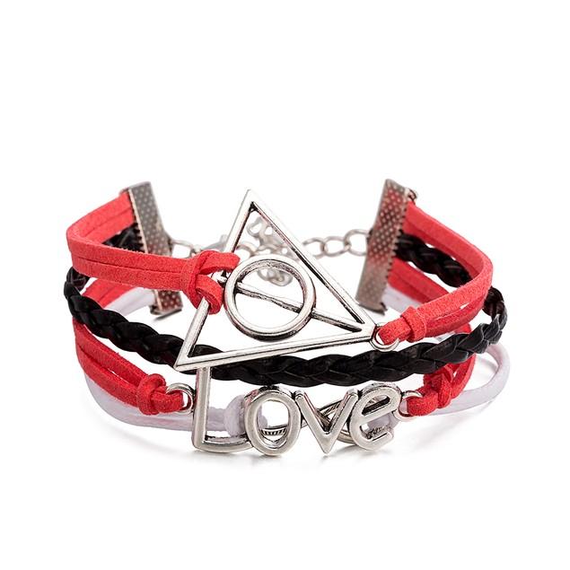 Coral & Black Triangular Love Bracelet
