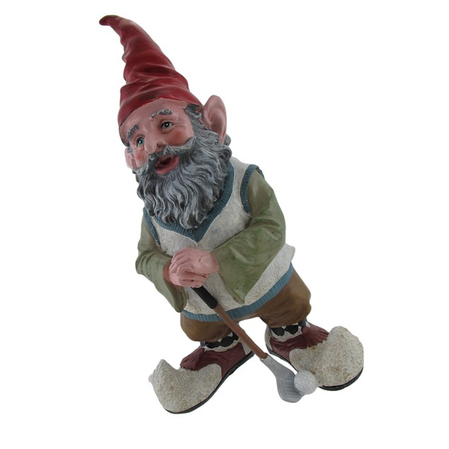 Greg The Golfing Gnome 14 In. Outdoor Statues