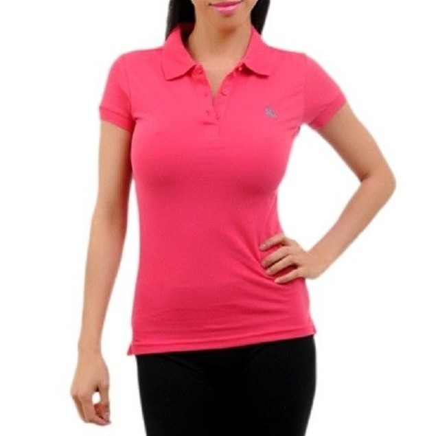 Fuchsia Short Sleeve Juniors Polo Top by C'esttoi New