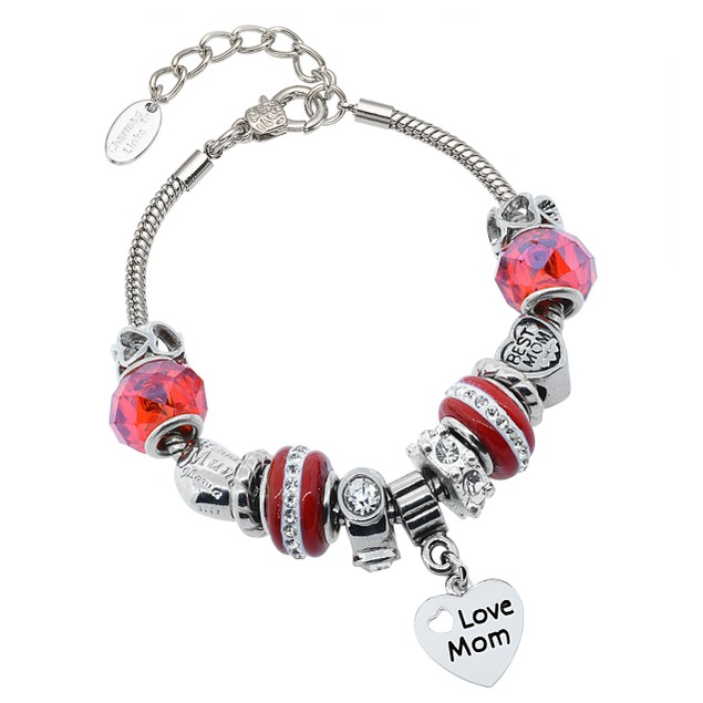Love Mom Crystal And Murano Bead Bracelet