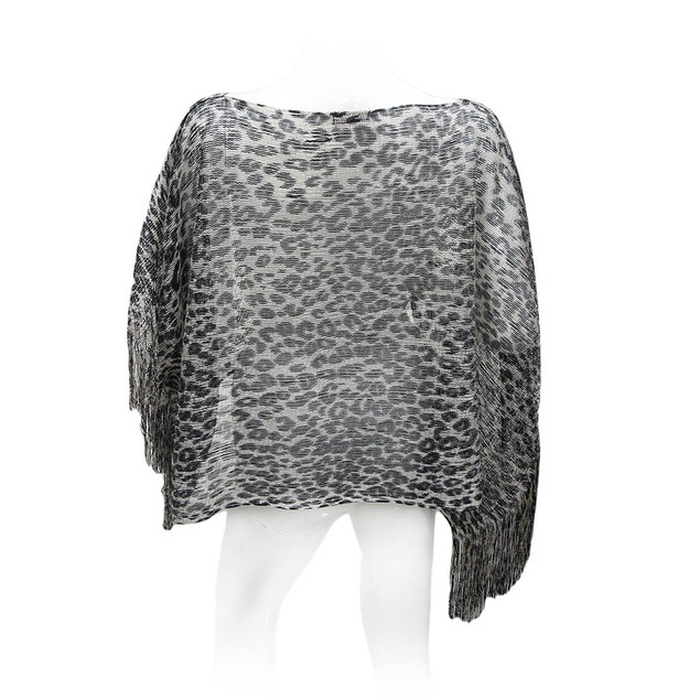 Black And Gray Metallic Leopard Print Lightweight Womens Ponchos
