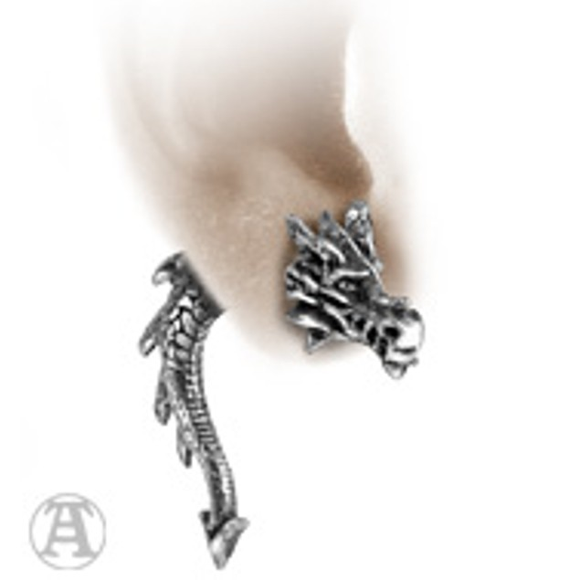 Alchemy Gothic Tor Dragon Double Sided Stud Mens Earrings