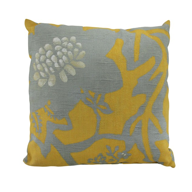 18 Inch Polyester Goldenrod Yellow And Grey Floral Throw Pillows