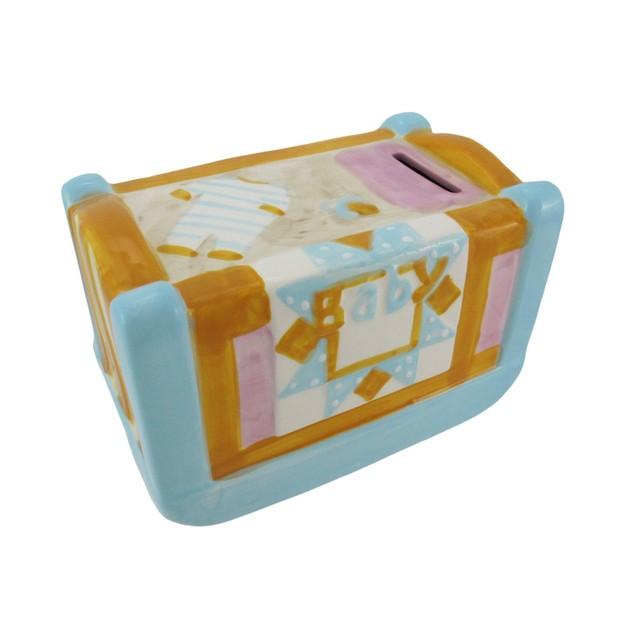 Ceramic Pastel Baby Crib Coin Bank Toy Banks