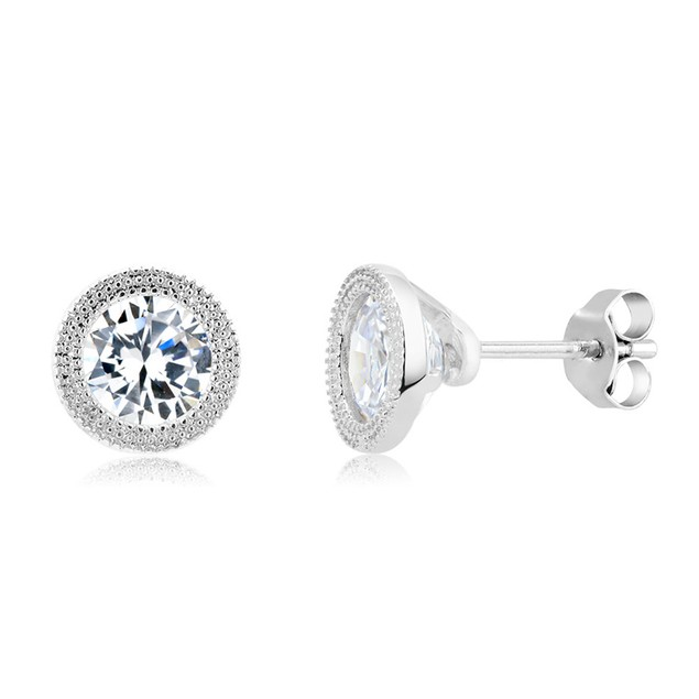 Gold Plated Imitation Diamond Beaded Bezel Stud Earring
